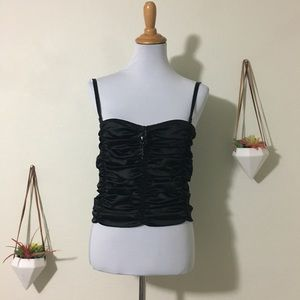 St. John Couture black satin ruched tank top